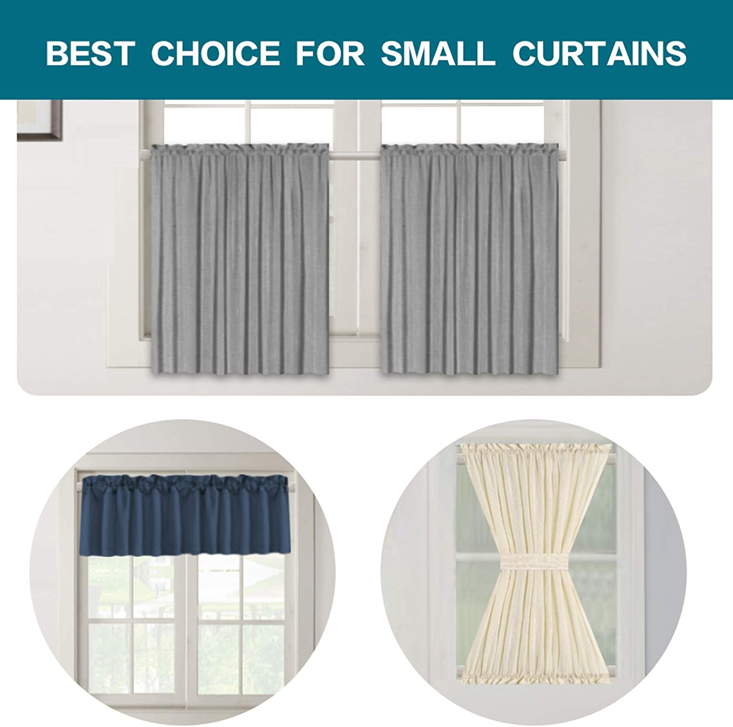 Turquoize Oval Tension Rods Adjustable Width Curtains Rods 4 Pack Spring Window Round 22 to 36 inches Spring Curtain Rod Tension Curtain Rod Nickel
