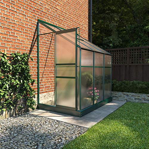 BillyOh Polycarbonate Aluminium Frame Lean-To Greenhouse Green (4ft x 6ft)