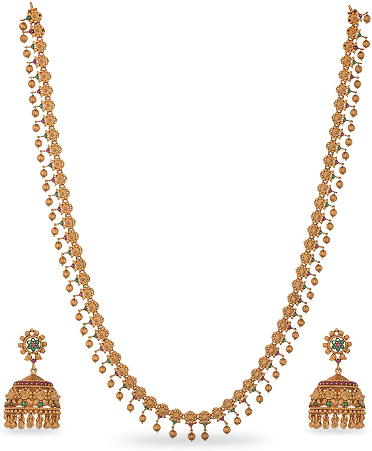 Tarinika Gold-Plated Indian Jewelry Set with Long Necklace and Earrings - Red Green