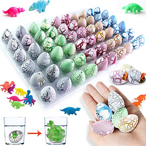 iGeeKid 40PCs Dinosaur Easter Eggs, Hatching Growing Dino Eggs filled Variety Dinosaur Figures Toy Gift Box for Kids Boys Easter Basket Stuffers, Easter Party Favors, Easter Egg Hunt, Classroom Prizes