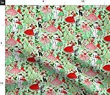 Spoonflower Fabric - Vintage Christmas Pinup 1950S Retro Snowman Candy Canes Winter Printed on Petal Signature Cotton Fabric by The Yard - Sewing Quilting Apparel Crafts Decor