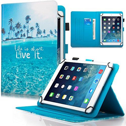 Dteck 7.5-8.5 Zoll Universal Hülle mit [Stylus Pen], Stand Wallet Fold Cover für iPad Mini/Samsung Galaxy/HD 8 Zoll/Huawei/Lenovo/LG G Pad/Nook/Onn 7.8/8.3/8.4 8.5 Zoll Tablet, Beach Live It
