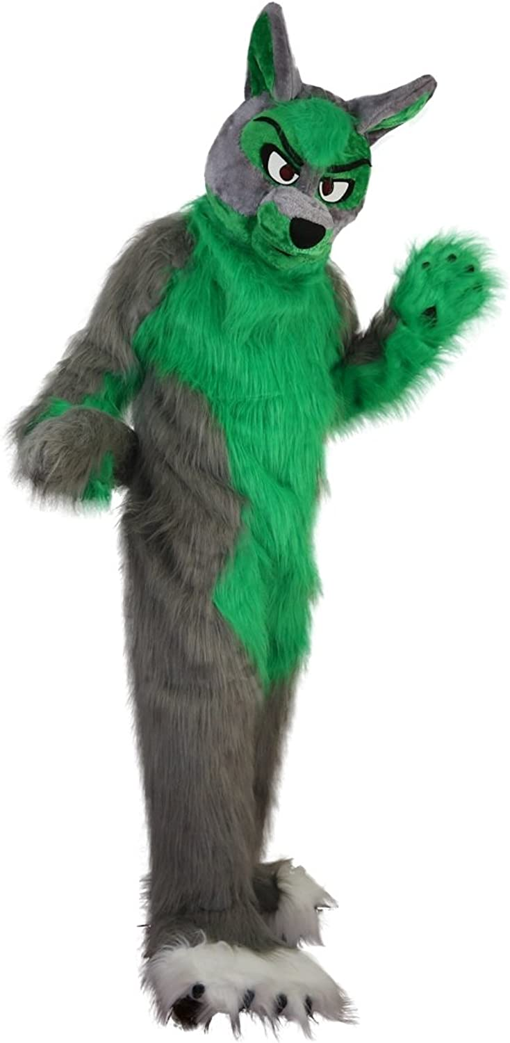 Langteng Green and Grey Wolf Hairy Cartoon Mascot Costume Masquerade Real Picture 1520days Delivery