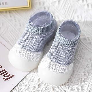 MU2827924, Piso Calcetines de bebé Agarre Antideslizante Pega los Zapatos recién Nacidos niño Piso Suave y Transpirable Antideslizante Calcetines de bebé del resbalón,Azul,20 * 21