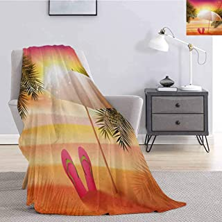 Luoiaax Orange Flannel Fleece Throw Blanket Sunset at The Beach with Flip Flops Umbrella and Palm Trees Illustration for Living Room Bed or Couch Blanket W59 x L70.5 Inch Orange and Yellow