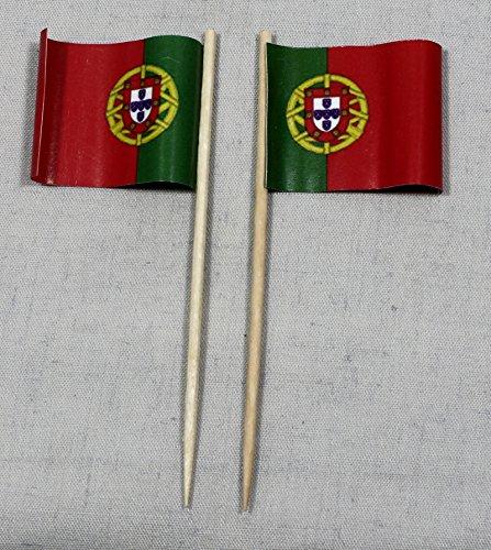 Buddel-Bini Party-Picker Flagge Portugal Papierfähnchen in Profiqualität 50 Stück 8 cm Offsetdruck Riesenauswahl aus eigener Herstellung