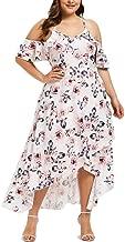 Rexinte Women Short Sleeve Gown Loose Plain Summer Wear Casual Plus Size Long Maxi Dress