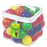 Click N' Play Pack of 50 Phthalate Free BPA Free Crush Proof Plastic Ball, Pit Balls - 6 Bright Colors in Reusable and Durable Storage Mesh Bag with Zipper