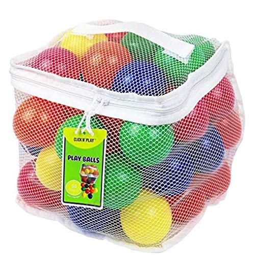 Click N Play Pack of 50 Phthalate Free BPA Free Crush Proof Plastic Ball, Pit Balls - 6 Bright Colors in Reusable and Durable Storage Mesh Bag with Zipper