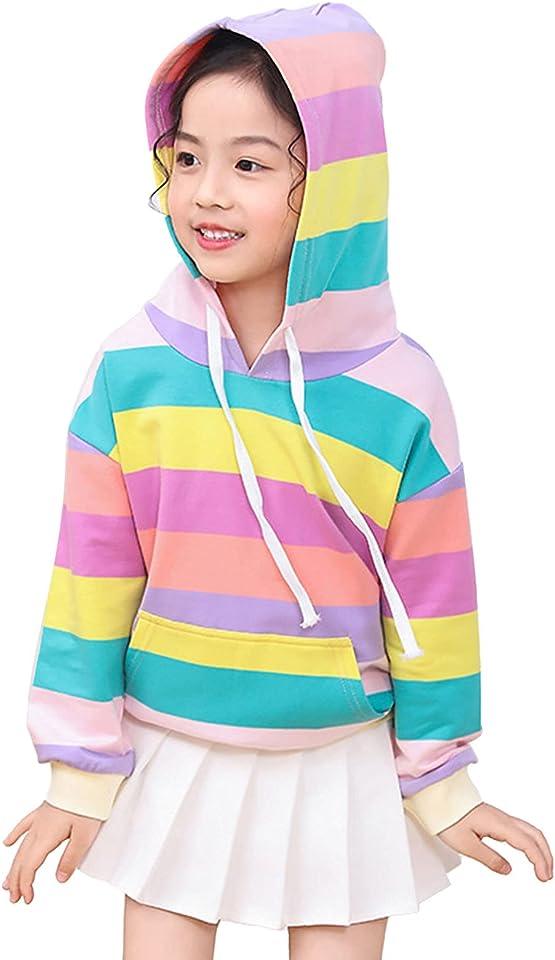 Kids Girls Drawstring Hoodie Rainbow Stripes Print Pullover Long Sleeve Hooded Top Sweatshirt with Pocket