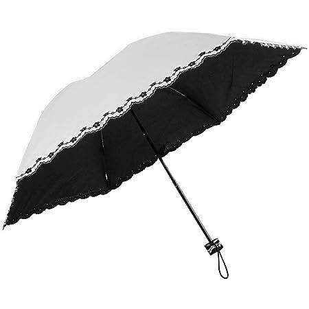 軽量200g 晴雨兼用 日傘 UVカット 紫外線遮蔽率99% カラーコーティング 刺繍加工 50cm ミニ傘(白.)