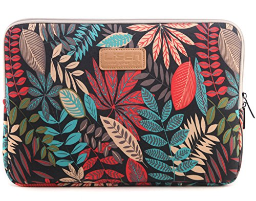 BSLVWG 10-15 inch Forest Series Pattern Water-resistant Canvas laptop sleeve for 13.3 inch laptop case macbook air 13 case macbook pro 13 sleeve ipad 12.9 (13 inch, Red Colorful Leaves)