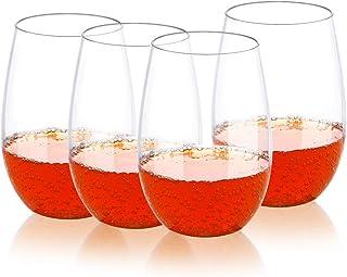 QHYK 4PCS Beber Vaso, Reutilizables - Shatterproof - BPA Libre plástico de alta calidad, para fiestas, camping, picnics, jardín y al aire libre, 16OZ