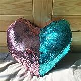 Mjia pillow Almohada de Felpa,Funda de Almohada de Lentejuelas Reversible de Dos ColoresFiesta de decoración del hogar/sofá/Cama,A,35cm * 40cm