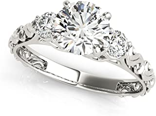 Reasonable 10k Solid White Gold 0.59ct Oval & Round Cut Vvs1 Diamond Bridal Engagement Ring Engagement & Wedding Bridal & Wedding Party Jewelry