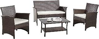 Modern Outdoor Garden, Patio 4 Piece Seat - Gray, Espresso Wicker Sofa Furniture Set (Espresso)