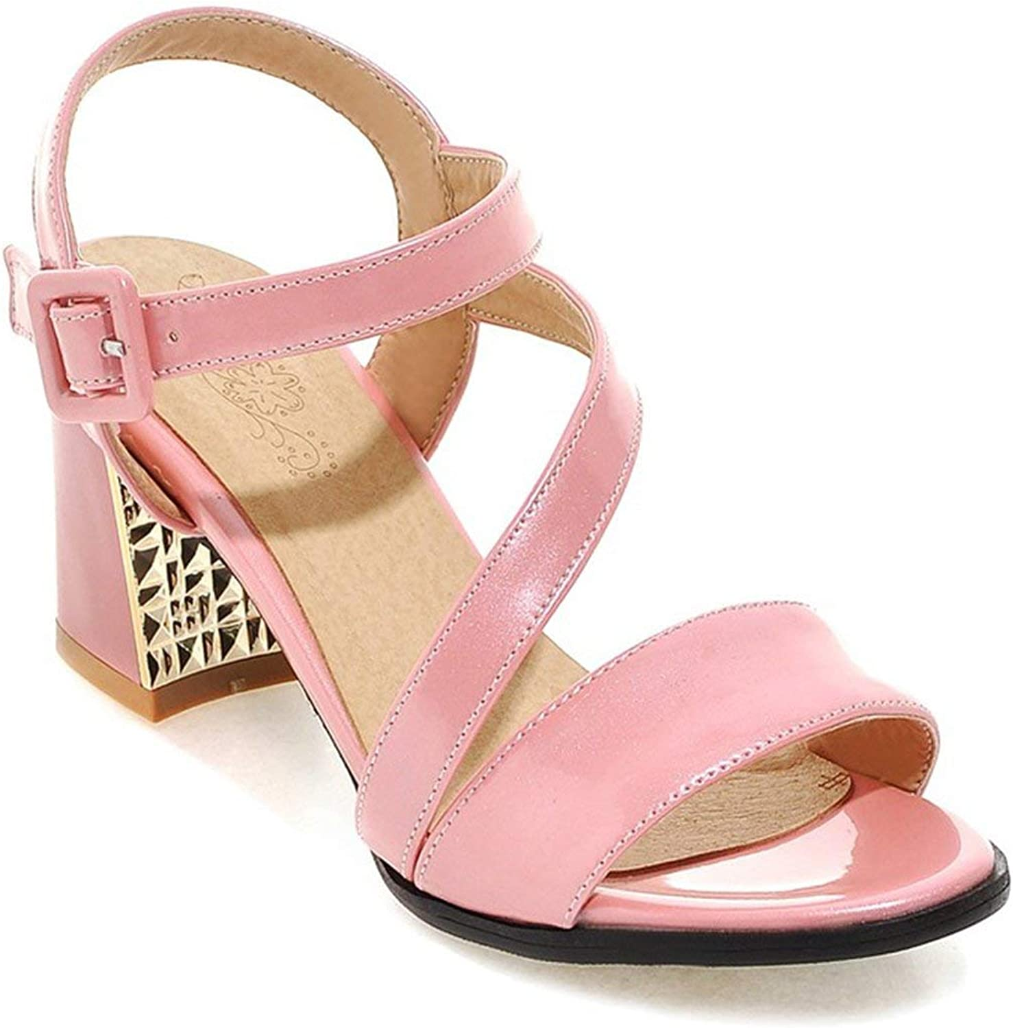 ALWAYS ME Ankle Strap Sweet Party shoes Thick high Heels Open Toe Buckle Solid color Women Sandals