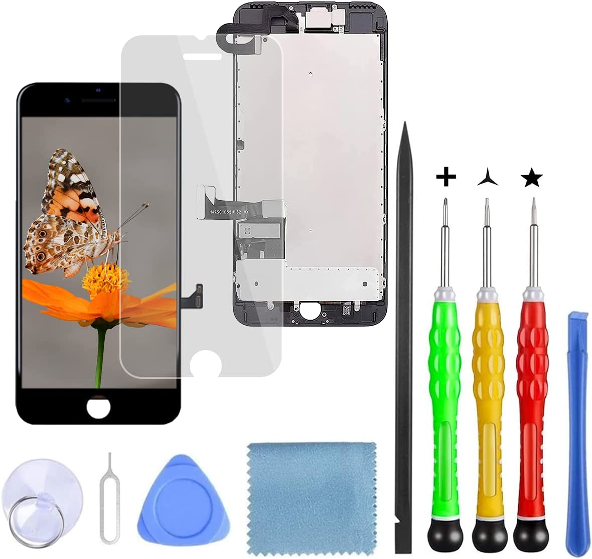 Lansupp Pantalla para iPhone 8 Plus Negro, Táctil LCD Reemplazo con Cámara Frontal, Sensor de proximidad, Altavoz y Kit de reparación