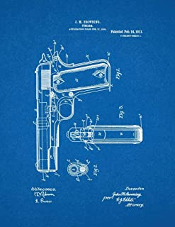 Colt 1911 Gun Patent Print Blueprint (8