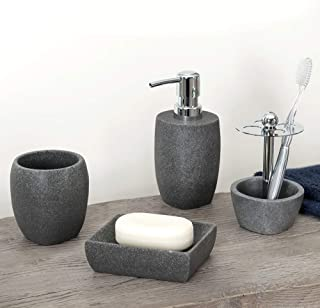 Allure Home Creation - Charcoal Stone Bathroom Collection - 4 Set (Lotion Bottle, Soap Dish, Toothbrush Holder, Tumbler)