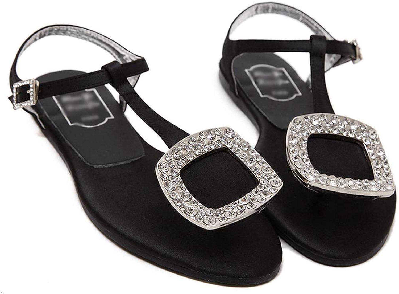 Drew Toby Women's Flats, Rhinestone Square Buckle Black Fashion Flip Flops