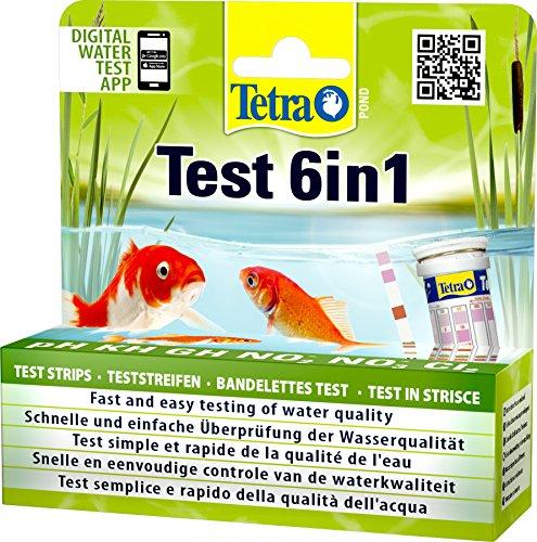 Tetra Pond Test 6in1 (Teststreifen zur Bestimmung von 6 wichtigen Wasserwerten im Gartenteich), 1 Dose (25 Streifen)