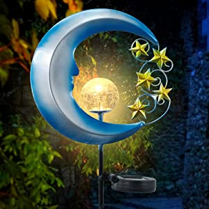 FENGTAI Solar Lights Garden Pathway Decorative, Metal Moon Stars Crackle Glass Globe Landscape Light for Outdoor, Backyard, Lawn, Patio (1 Pack)