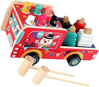 TOYANDONA 1 Set Wood Mole Whacking with 2 Mallets Peg Pounding Bench Car Tap Bench Hit Mole Hamster Game Educational Woode...