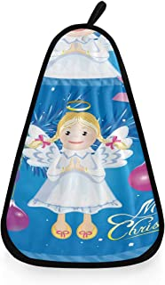 WAWSN Vector Greeting Christmas Card Angel Toy Personal Hand Towels Fun Kitchen Towels Hanging Highly Absorbent Multipurpose Dish Drying Towel Kids Hand Towels
