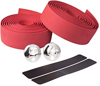 Outdoor,Sport,Bike Accessories,Bike Handlebar Tapes, 2pcs Eva Road Bicycle Handlebar Tape Bike Bar Wraps Bicycle Handle Strap + End Plug + Finishing Strap Solid Color Red