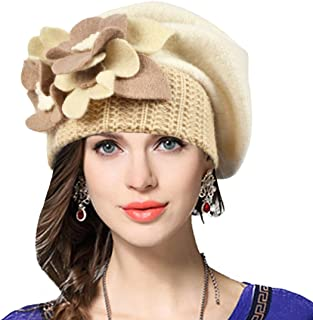VECRY Lady French Beret 100% Wool Beret Floral Dress Beanie Winter Hat 9fa1072276de