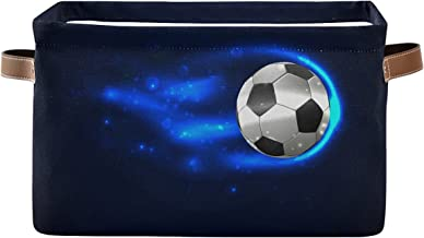 AUUXVA KUWT Sport Soccer Ball Storage Bins Basket, Football Theme Collapsible Storage Cube Rectangle Storage Box with Hand...