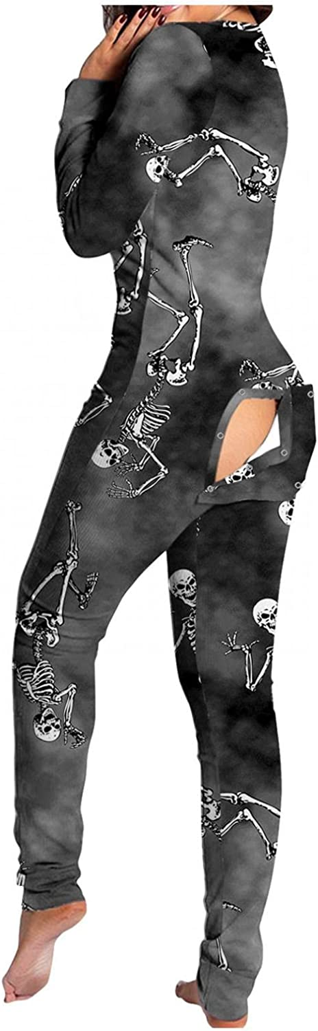 Lingbing Halloween Jumpsuits for Women, Funny Pumpkin Skull Graphic Bodysuit Sexy V Neck Lingerie Pajamas with Butt Flap
