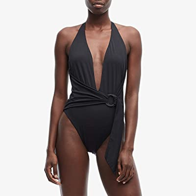 Jonathan Simkhai Classic Front Twist Ring Tie One-Piece (Black) Women