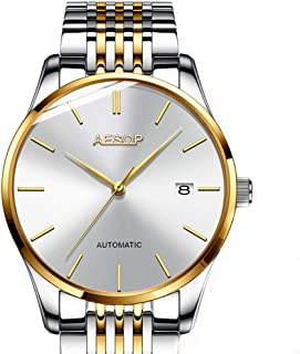 Aesop Fashion Men Date Analog Automatic Self Winding Mechanical Wrist Watch with Steel Band Silver Gold White