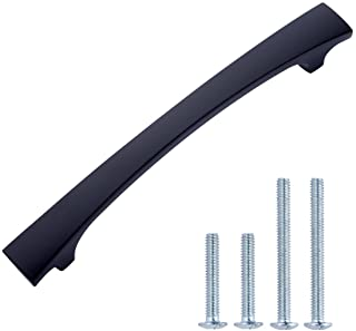 AmazonBasics - Tirador moderno curvado y grueso para armario 1651 cm de longitud (centro del orificio de 127 cm) Neg...