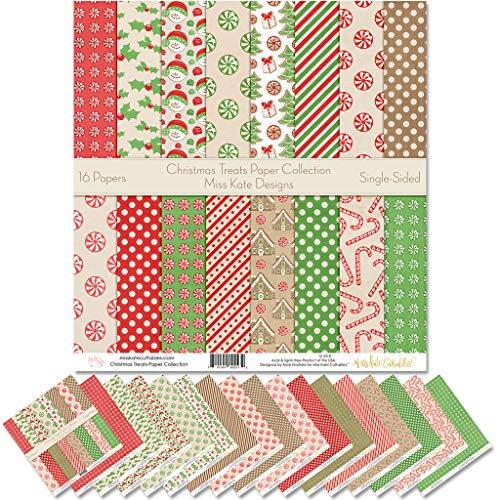 Pattern Paper Pack - Christmas Treats - Scrapbook Premium Specialty Paper Single-Sided 12'x12' Collection Includes 16 Sheets - by Miss Kate Cuttables
