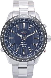 [エルジン]ELGIN GPS衛星電波腕時計 スイス製ムーブ オールステンレス 100M防水 ブルー GPS2000S-BL メンズ