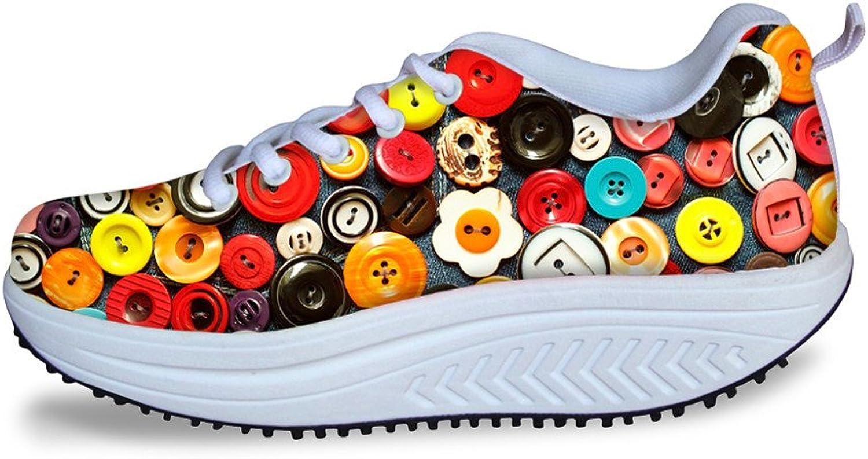 DeePrint Women Swing shoes Wedge Platform shoes Fitness Walking Sneaker