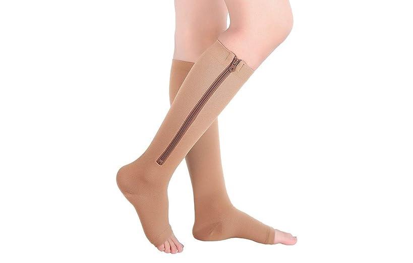 Mxinran Zip Sox Socks,Compression Toe Open Knee High Socks,1Pack