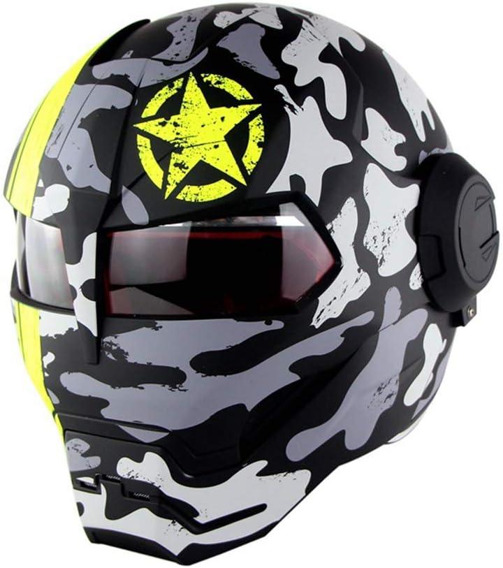 Full Face Motorradhelm Offroad High-End Sch/ädel Ghost Claw Pers/önlichkeit Retro Style Transformers Helm Camouflage Spots Helles Schwarz,M