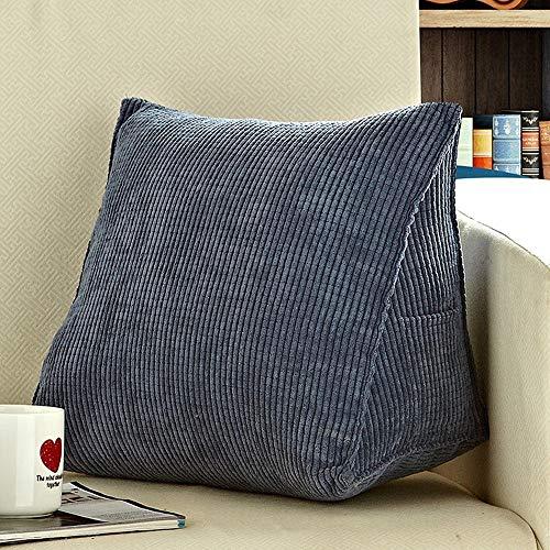 JONJUMP Fundas de cojín para cama, almohada de lectura, suave, triangular, respaldo grande, almohada para sofá cama, reposo lavable, apoyo de espalda