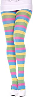 MUSIC LEGS Women's Neon Colored Striped Pantyhose