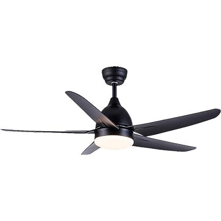 CJOY Ventilateur de Plafond avec Lampe, Ventilateur de Plafond avec Lumière et Télécommande Noir 51 pouces AC 5 pales de Ventilateur avec Lumières LED 24W pour Salon Chambre