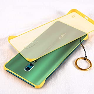 YEESOON Oppo Reno Case, Ultra Slim Matte Translucent Hard PC Case Four Corners Shockproof Back Cover with Ring Lanyard for Oppo Reno - Yellow