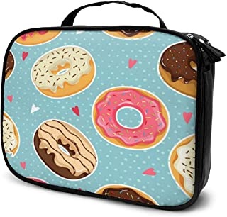 Cosmetic Bag Vintage Donut Polka Dot Love Heart Travel Makeup Bag Anti-wrinkle Cosmetic Case Multi-functional Storage Bag Large Capacity Makeup Brush Bags Travel Kit Organizer Women's Travel Bags