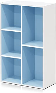Furinno 5-Cube Reversible Open Shelf, White/Light Blue 11069WH/LBL