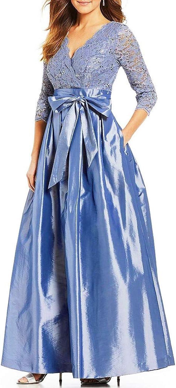 Zottom Damenmode V Ausschnitt Langarm Hohlspitze Nahen Kleid Bogen Gurtband Abendkleid Und Langes Kleid Blau Xxxxx Large Amazon De Bekleidung