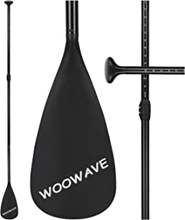 WOOWAVE SUP Paddle Adjustable 3 Piece Stand-Up Paddles Floating Portable Paddle Board Accessories (Aluminum Alloy, Fiberglass, Carbon Fiber Optional)