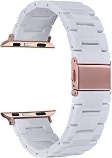 V-MORO Resin Strap Compatible with Apple Watch Band 38mm 40mm iWatch Series 4/3/2/1 with Stainless Steel Buckle Replacement Wristband Women Girl Men(White-Tone, 38mm/40mm)